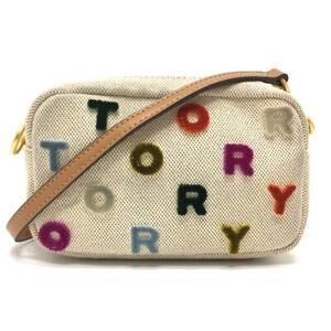 TORY BURCH 56297 Logo patch PERRY FIL COUPE MINI bag Shoulder Bag Canvas Beige