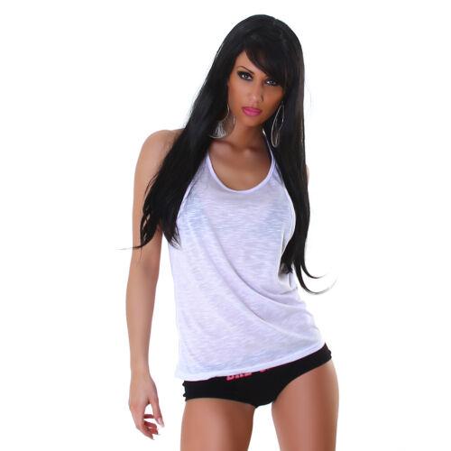 Damen Top Shirt Lagenlook Party T-Shirt Träger Sommer Strand Sport Hemd Oberteil