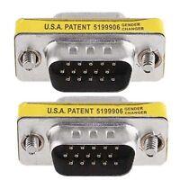 15 Pin HD SVGA VGA male to male M/M gender changer adapter