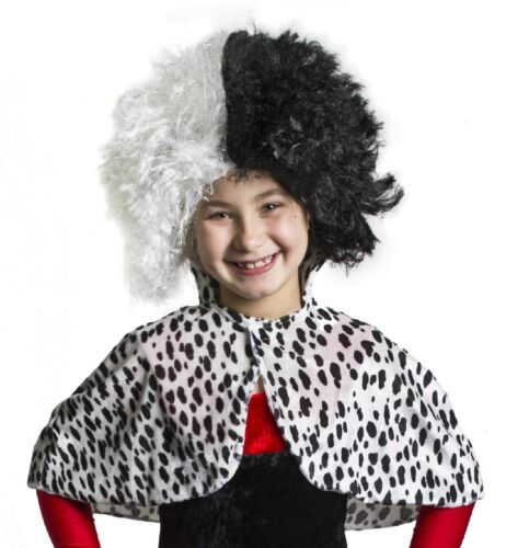 CHILDRENS DALMATIAN PRINT VELOUR CAPE FANCY DRESS COSTUME WITH WIG ACCESSORY