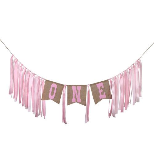 Rustic Burlap One Highchair Rag Banner for Kids 1st Birthday Baby Shower