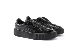 check out 105f5 695e9 Details about PUMA FENTY BY RIHANNA CREEPER CRACKED BLACK PATENT  LEATHER*Price Reduced* 10 NIB