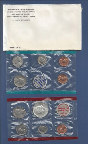 MINT SET...UNCIRCULATED...10 COINS...40/% SILVER HALF DOLLAR...OGP 1968 U.S