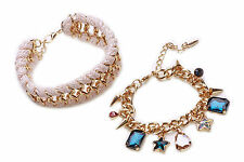 TRENDY SET OF 2 CHAIN BRACELETS SPARKLY STAR/SPIKE CHARMS PALE PINK ROPE -CL27TR