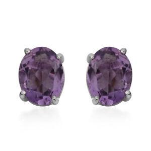 Elegant-925-Sterling-Silver-Amethyst-Ear-Studs-Solitaire-Earrings-Pairs-Ctw-2-7