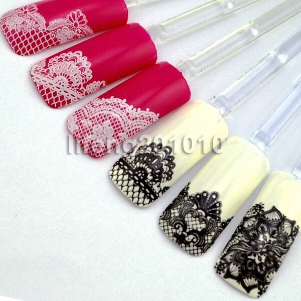High Quality 3D Black White Lace Design Nail Art Sticker Decals Decoration Tools