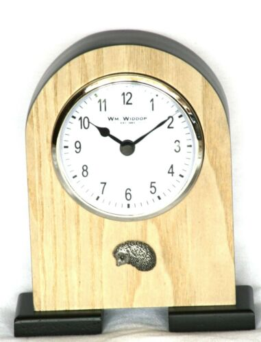Hedgehog Pewter Emblem Wooden Mantelpiece Clock British Wildlife Gift Present