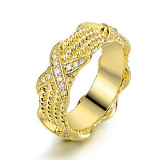 18K Gold Plated Cubic Zirconia Three Row Braided Ring
