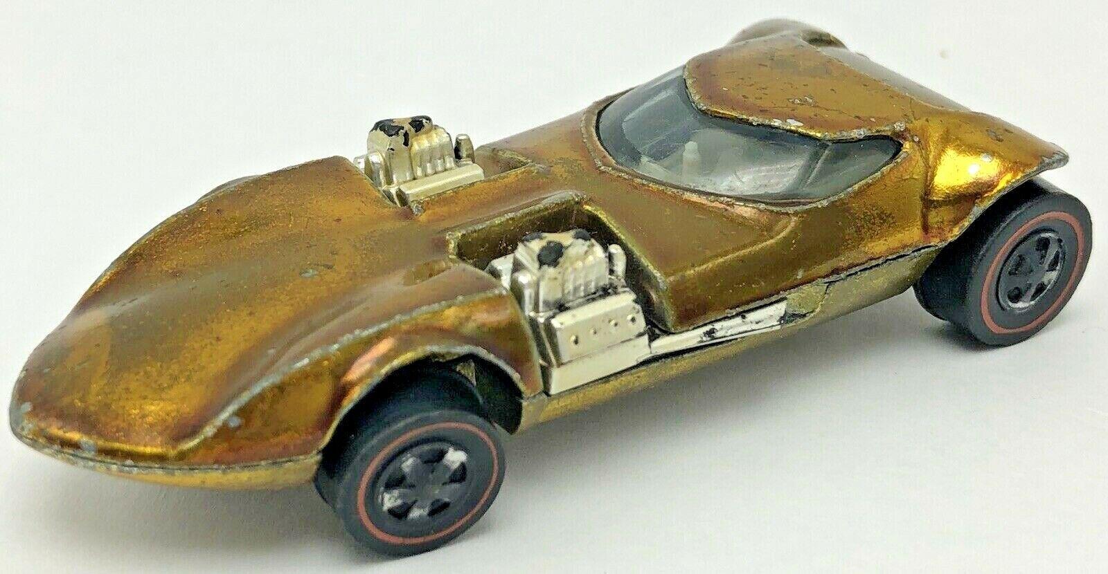VIntage 1968 Mattel Hot Wheels Redline Twinmill Gold White Interior US