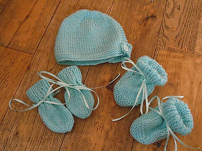 Booties Set 0-3// 3-6// 6-9 Months Mitten New Hand Knitted Turquoise Baby Bonnet