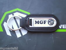 MGF MG F Genuine Leather Keyfob Keyring  Chrome / Black MG Logo mgmanialtd.com