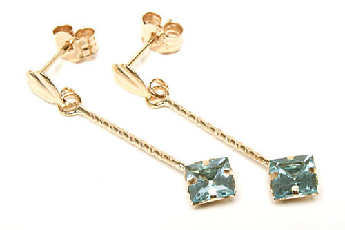 9ct gold bluee Topaz Long drop Earrings Made in UK Gift Boxed Birthday Gift