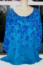 "NEW Isaac Mizrahi Live Top Blouse Womens Size XL Teal Floral -52"" bust -29"" L"