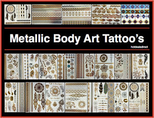 ffa406778 Image is loading Metallic-Mandala-Temporary-Tattoo-Body-Art-Sticker-Flash-