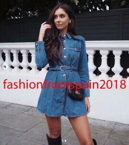 ZARA NEW WOMAN SHORT DENIM SHIRT DRESS BELT BLUE XS-XL 1224/245   eBay