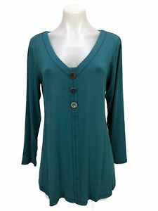 Soft Surroundings Size M Tunic Blouse Top 3/4 Sleeve Teal Button Pullover