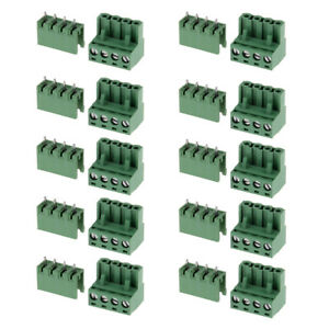 Details about 10pcs 5 08mm Straight 4 pin 4P Screw Terminal Block Connector  Pluggable Type