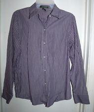 LRL Ralph Lauren Purple Green White Vertical Stripes Button Front L/S Top Size M