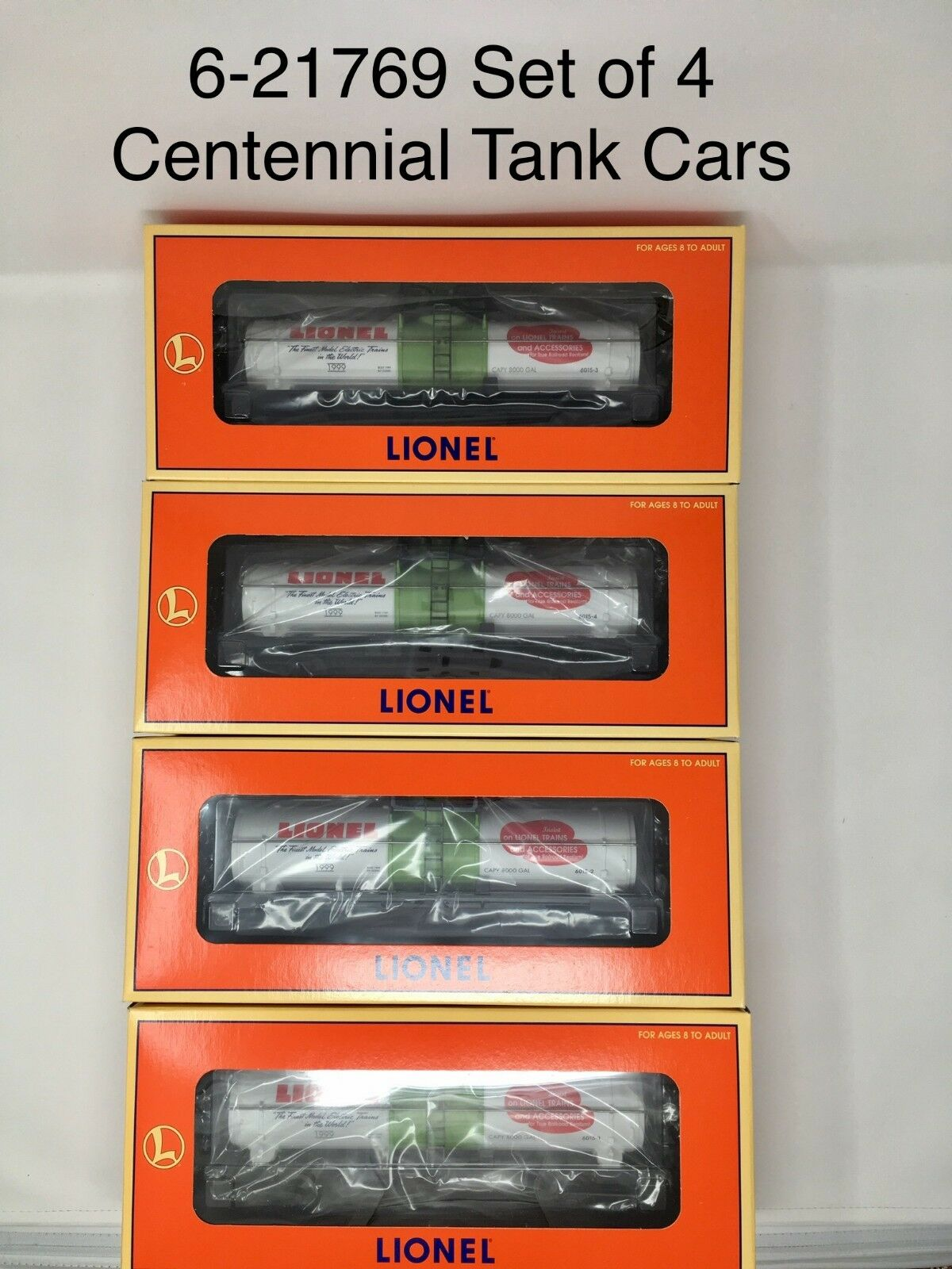 LIONEL 6-21769 Set of 4 Centennial Tank Cars 19621 19622 19623 19624 O Gauge