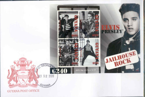 GUYANA ELVIS PRESLEY JAILHOUSE ROCK SHEET FIRST DAY COVER