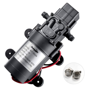 12V DC Water Pump 2-Hose Clamps Diaphragm Self Priming Sprayer 4.5 L//Min 1.2GPM