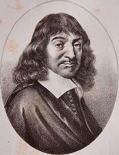 DESCARTES RENE . (1596-1650)  . Portrait, lithographie de 1821,