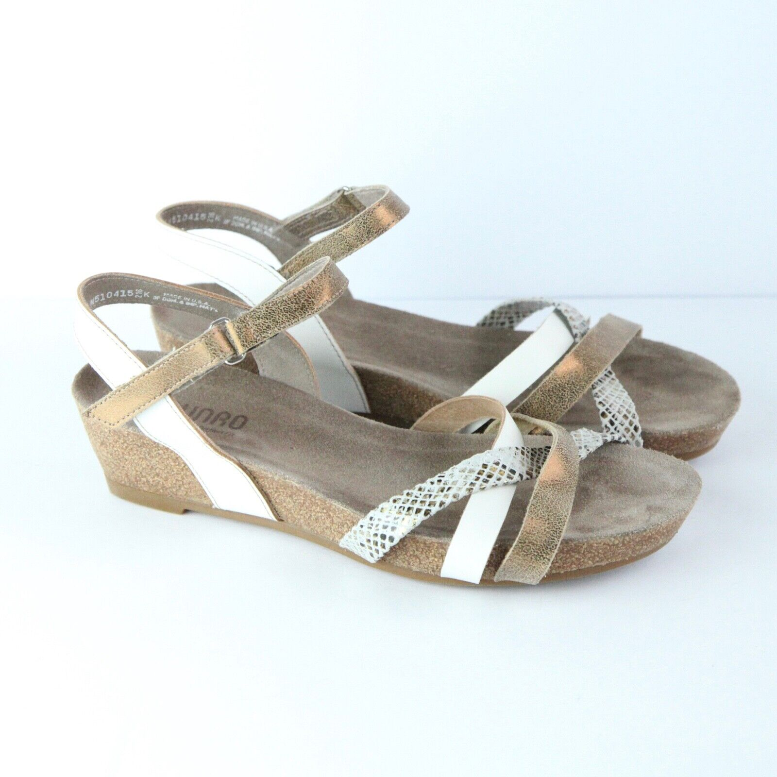 Munro Eden Sandal Cork Wedge Womens 9.5 W Leather Comfort shoes Strappy