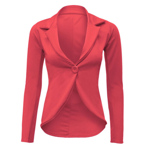 NUOVA linea donna taglio Frill Turno Slim Fit Blazer Giacca Cappotto Donna Taglia 6-24 slimjck