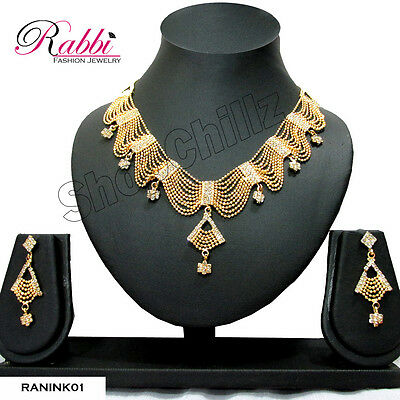 18K Indian Style GOLD PLATED FRILL NECKLACE SET RANI HAAR American Fashion GP