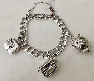 Vintage-Monet-Silver-Tone-Starter-Mechanical-3-Charm-Bracelet-Blinking-Cat