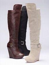 $140 NEW Victoria's Secret Knee Tall Wedge Platform Buckle Boot BLACK sz 6.5