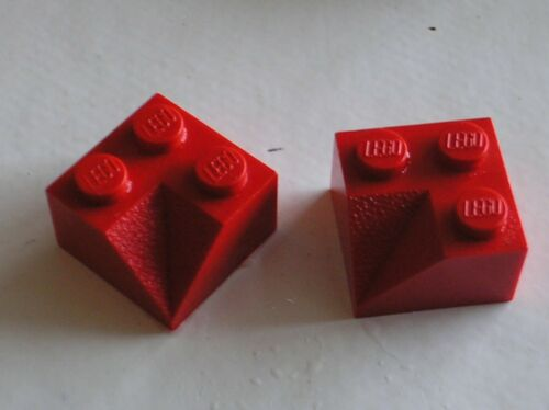 set 740 4886 6754 4956 1592 911 2 x Lego Red Slope 2x2 Double Concave ref 3046