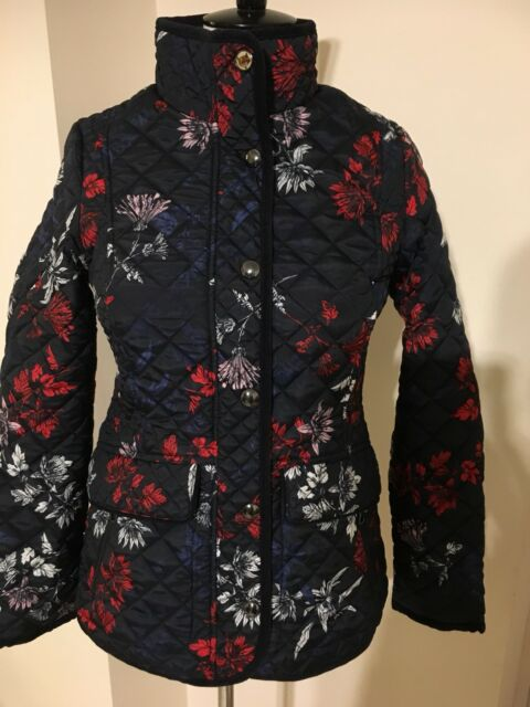 e657471c0 Joules Newdale Print Quilted Jacket in Marine Navy Fay Floral Size 14