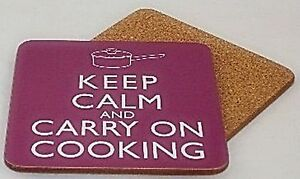 Keep-Calm-and-Carry-On-Cooking-drinks-coaster-set-of-4-gg-REDUCED-TO-CLEAR