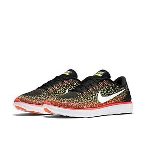 2f833dafaa627 Women s Nike Free RN Distance Running Shoes NEW Black   Volt   Hot ...