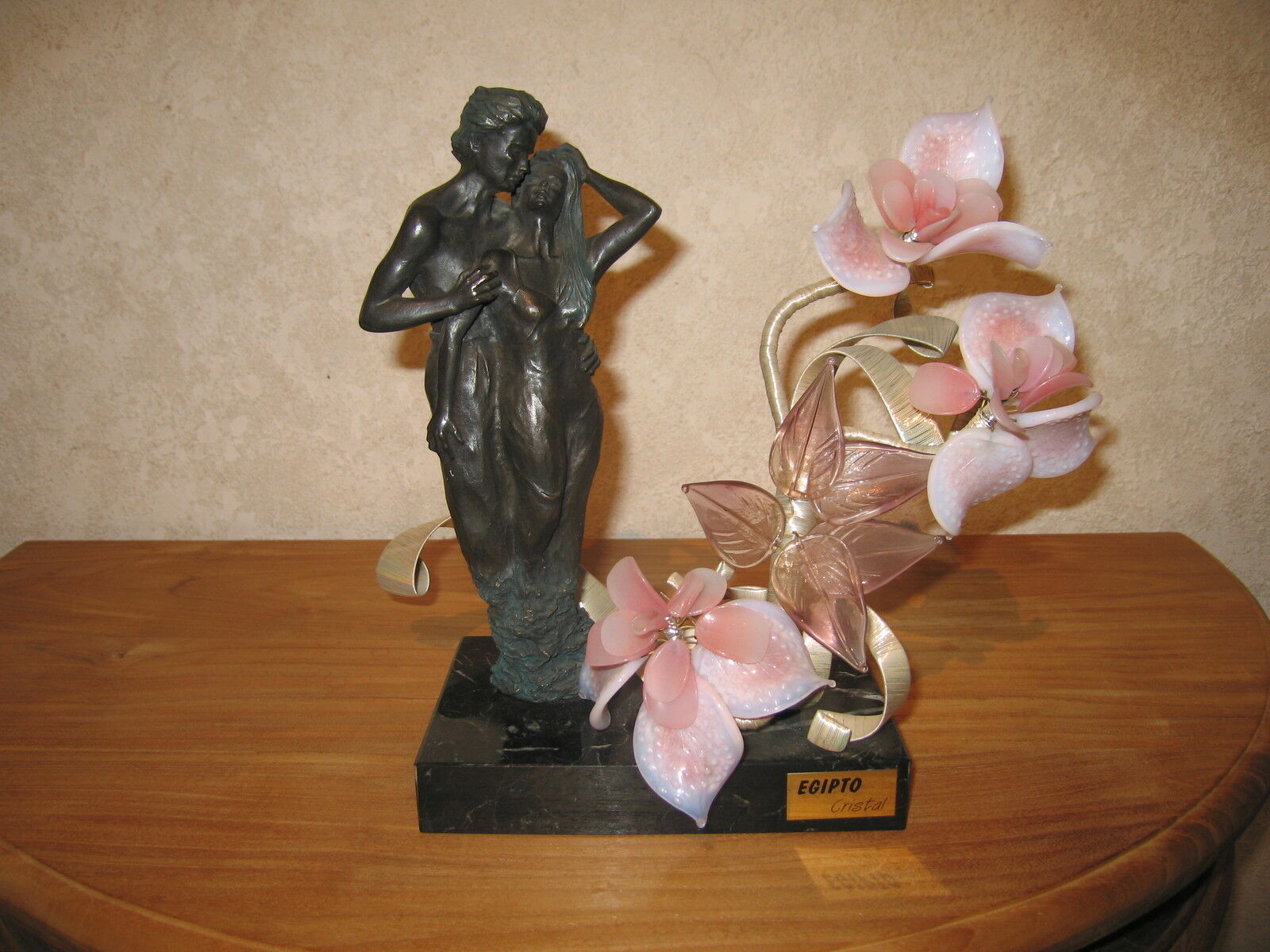 EGIPTO CRISTAL NEW Posture couple fleur Murano 18x11cm H.28cm Flower
