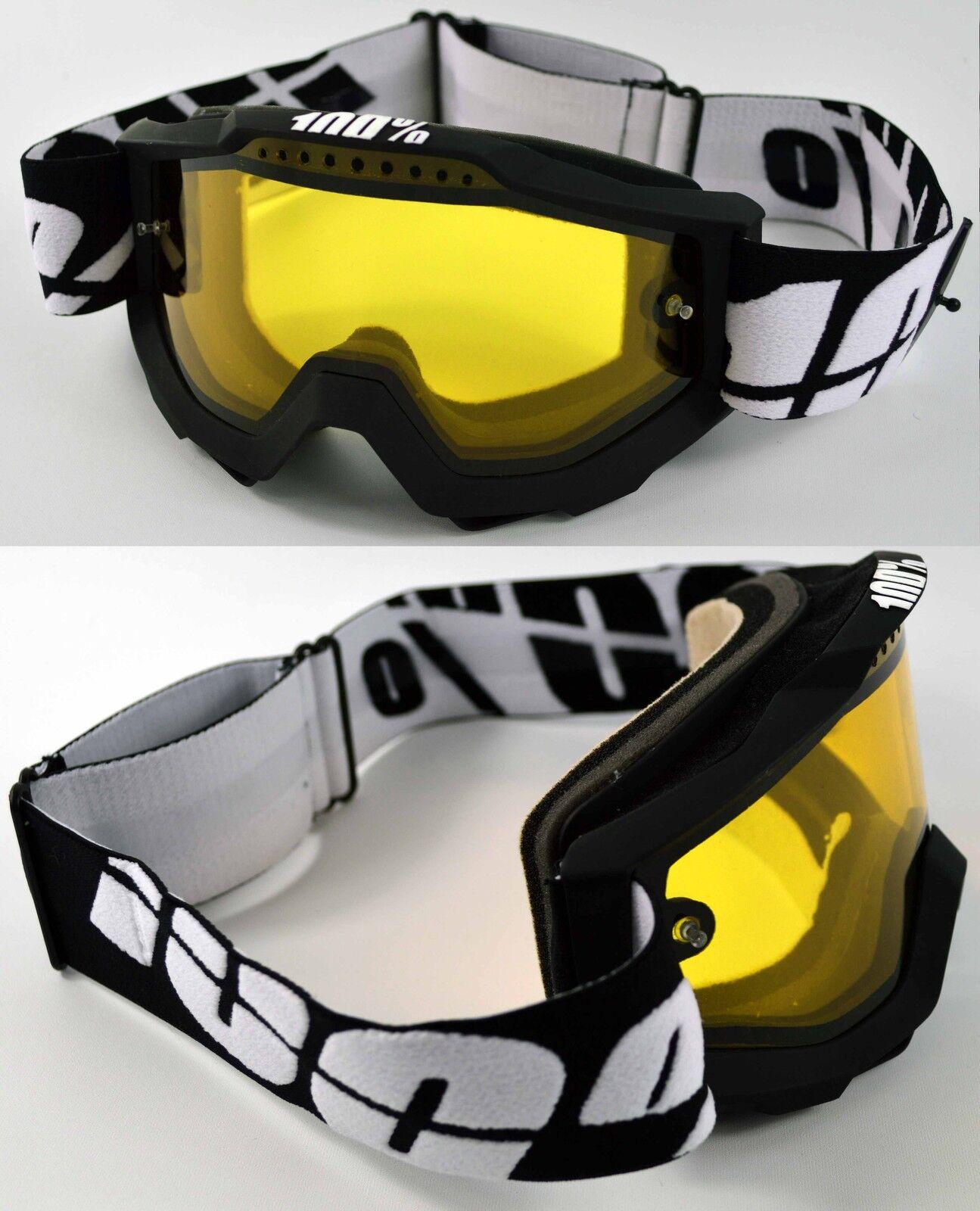 100% Percent Accuri Tabla Nieve Mascara Esqui Negro Doble Ventilación Amarillo