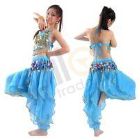 Belly Dance Costume Set 2 Pics Sequins Bra Top + Gold Wavy Harem Pants Skirt Set