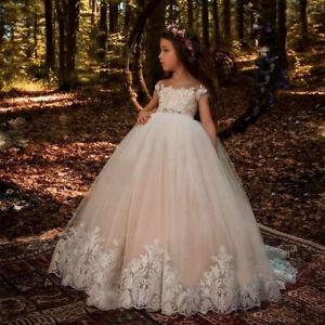 Details About New Fashion Children Lace Flower Girl Dresses Tulle Flower Girl Dresses