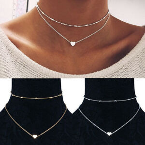 Gold-Silver-Plated-2-Double-Layer-Beaded-Chain-Choker-Necklace-Heart-Pendant-Hot
