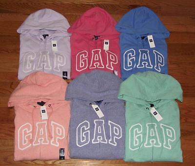 NEW NWT Womens GAP Logo Front Zipper Hooded Sweatshirt Hoodie 6 COLORS *1F