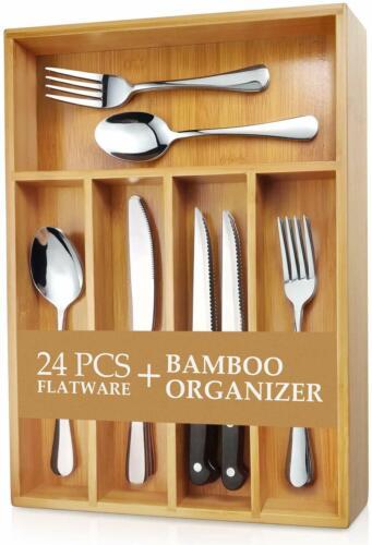 Flatware Set Mirror Polished Dishwasher Safe Teivio 24-Piece Silverware Set