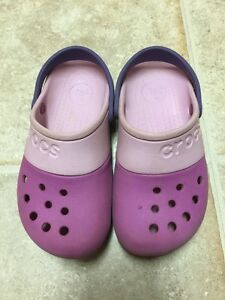 1796b1fa939077 Image is loading Crocs-Girls-Purple-amp-Pink-Clogs-Shoes-Size-
