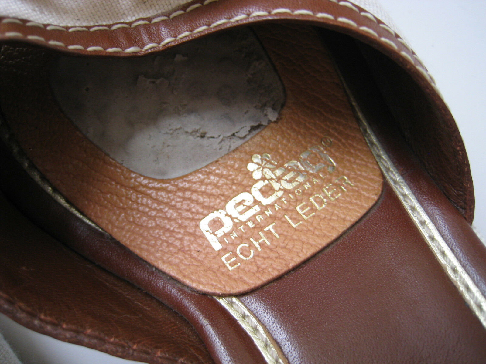 COLE HAAN LINEN WOMEN BROWN LEATHER PEP TOE WEDGE WOMEN LINEN SIZE US 7.5 HOT BRAZIL 1a9273