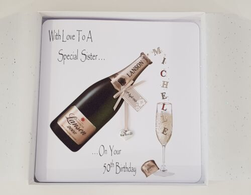 Age SKU122 Personalised 50th Champagne Birthday Card Big Sister Any Relation