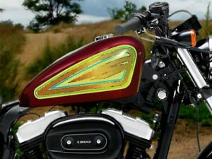 Old School Gold 2pc Tank Panel Decal Set For Harley Sportster Chopper Bobber 883 Ebay