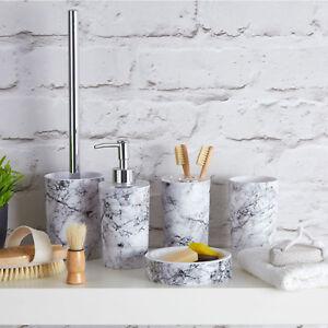 Rome-Marble-Effect-Basin-Accesories-Bathroom-Dispenser-Soap-Dish-Bin-Tumbler-New