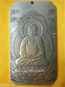 Old-Chinese-tibet-Silver-rulai-Buddha-Lotus-base-Bullion-thanka-amulet-Pendant