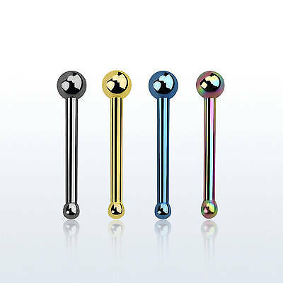 20g Nose Ring Bone Ball Stud Pin Top 4 Solid Colors Anodized Steel 1PC-4PC Set