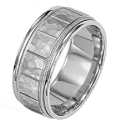 14k Weiss Gold Herren Ehering, Hochzeit Ring Gehämmerte Oberfläche 8mm